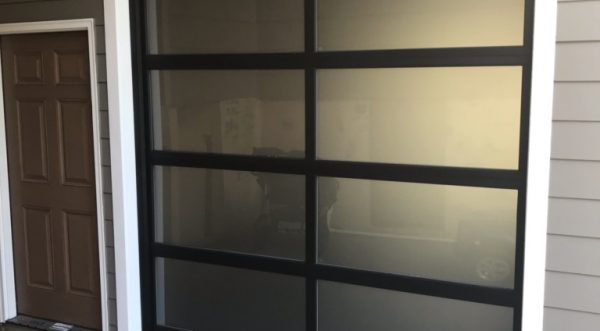 Aluminum Full View Frosted Glass Sectional Door